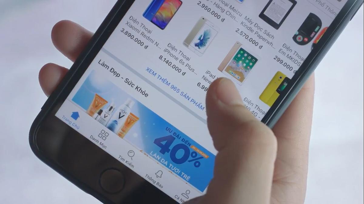 Một góc giao diện bán đồ công nghệ của một ứng dụng thương mại điện tử. Ảnh: Thanh Ngô