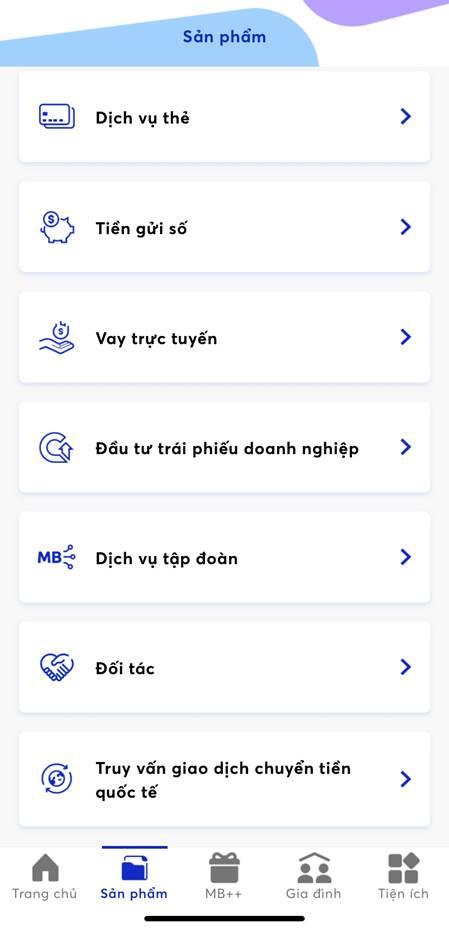 Giao diện ứng dụng cho vay của MBBank.