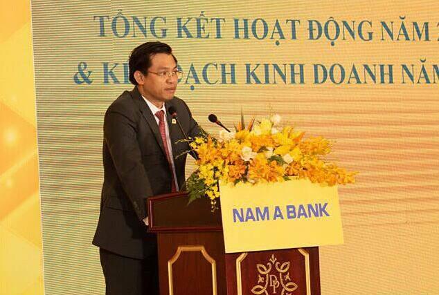 Ông Trần Ngọc Tâm Tổng giám đốc Nam A Bank phát biểu tại đại hội sáng 27/6. Ảnh: NamABank.