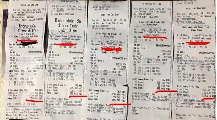 Hoá đơn tiền điện nhiều tháng giống hệt nhau của một khách hàng tại Tiền Giang. Ảnh: NLĐ.