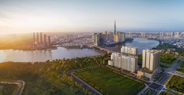 Dự án The River với ba toà tháp nhìn sang phía trung tâm.