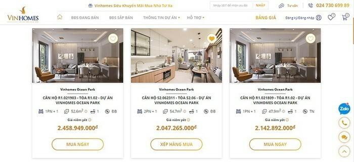 Giao diện sàn giao dịch bất động sản trực tuyến của Vinhomes.