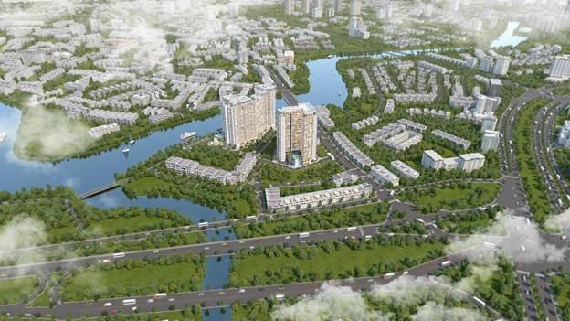 Phối cảnh khu căn hộ Precia sở hữu vị trí đắc địa trên mặt tiền đường Nguyễn Thị Định.