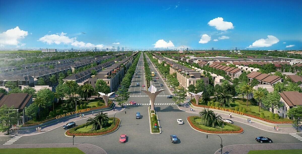 Dự án khu đô thị thương mại giải trí Gem Sky World thiết kế theo mô hình bàn cờ tạo nên hệ thống giao thông kết nối liền mạch.
