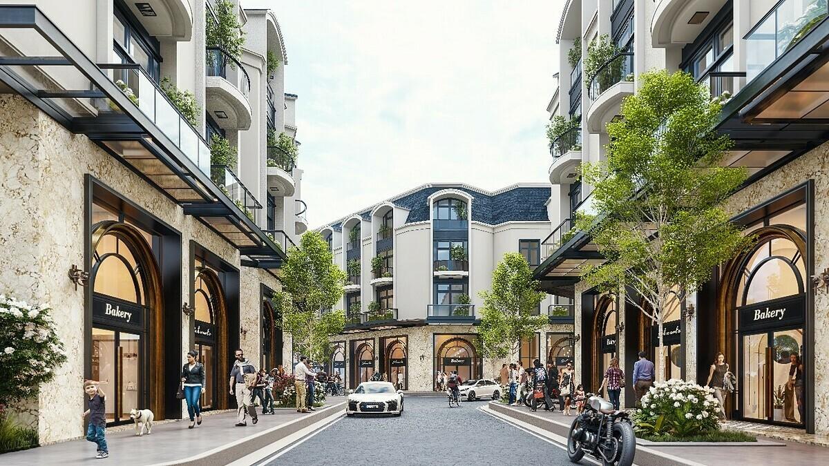 Phối cảnh nhà phố hai mặt tiền thiết kế bán cổ điển châu Âu của Diamond Central.