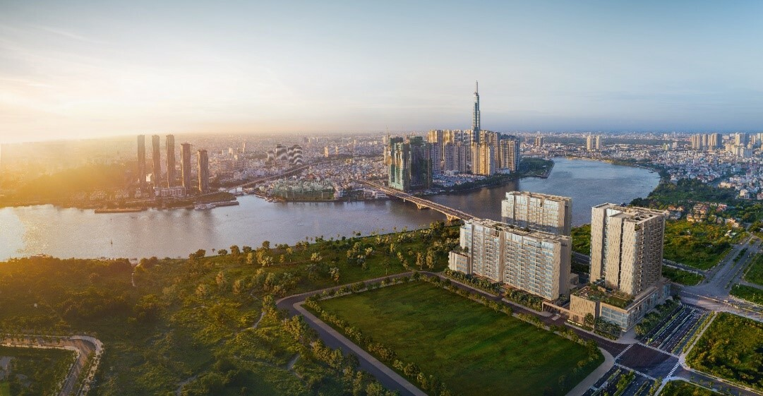 Phối cảnh toàn khu dự án The River Thu Thiem với tầm nhìn bao quát ra khu trung tâm quận 1.