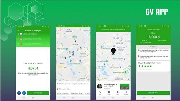 Giao diện ứng dụng GV Taxi.