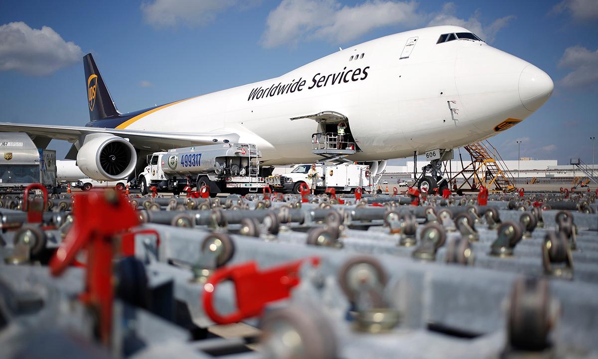 Một chiếc Boeing 747 chở hàng của UPS hồi năm 2018. Ảnh: Bloomberg