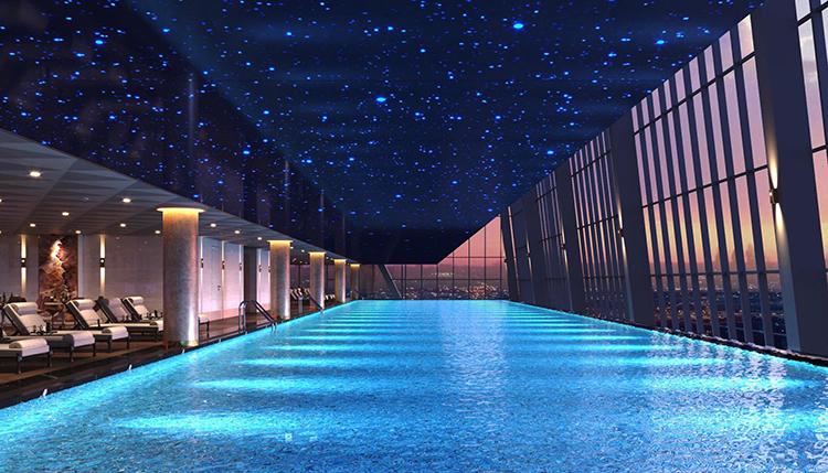 Bể bơi bốn mùa view panorama mang cảm hứng từ ốc đảo sang trọng.