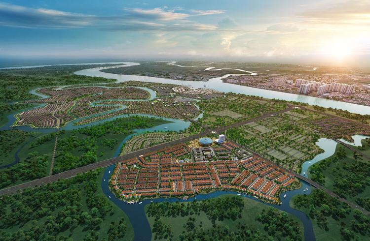 Phối cảnh dự án Aqua City quy mô gần 1.000ha, được bao bọc bởi hệ thống các con sông lớn.