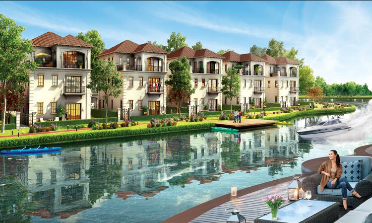 Phối cảnh các biệt thự hướng nhìn ra sông tại dự án.