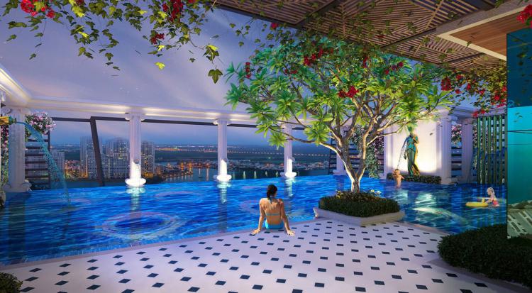 Gia chủ có cơ hội ngắm nhìn khung cảnh đẹp nhất hướng ra sông Sài Gòn và trung tâm thành phố từ khu vực hồ bơi vô cực đặt trên đỉnh tòa cao ốc.
