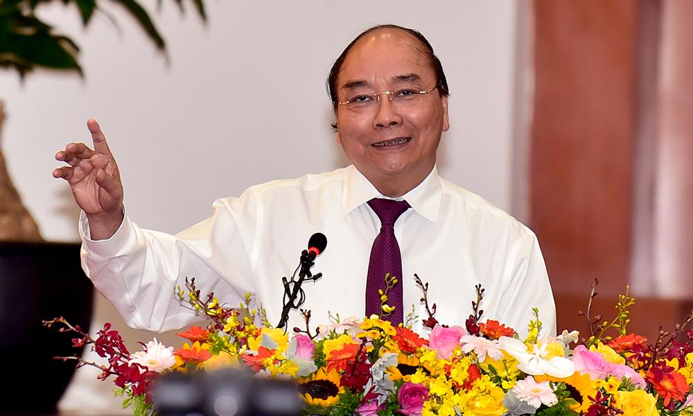 Thủ tướng Nguyễn Xuân Phúc phát biểu tại sự kiện sáng nay (7/7). Ảnh: Bộ Tài chính.