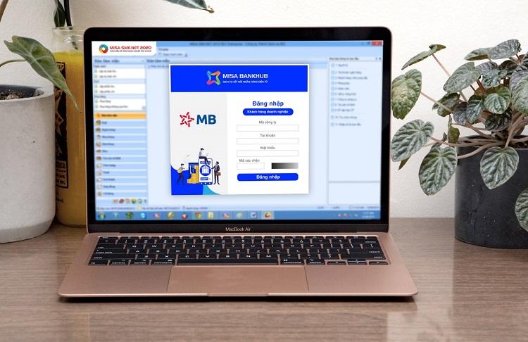 Giao diện ngân hàng điện tử MB trực tiếp trên phần mềm kế toán MISA SME.NET 2020.