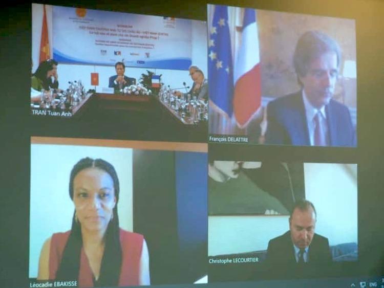 Hội thảo trực tuyến tìm kiếm cơ hội đầu tư doanh nghiệp Pháp vào Việt Nam sau khi EVFTA có hiệu lực. Ảnh chụp màn hình