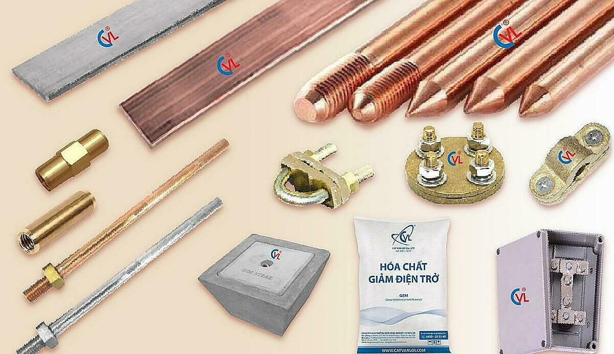 Cọc tiếp địa mạ đồng D16 và các sản phẩm thuộc hệ thống chống sét tiếp địa Cát Vạn Lợi