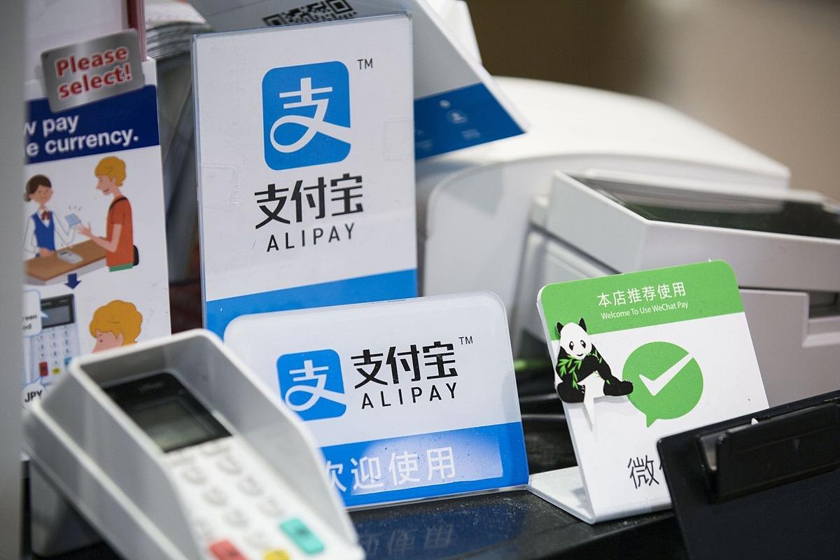 Logo chấp nhận thanh toán bằng ví điện tử Alipay của Ant Group. Ảnh: Bloomberg