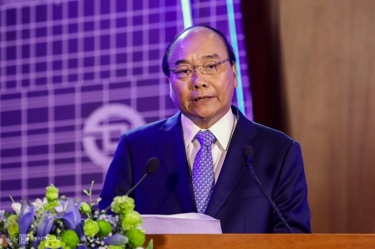 Thủ tướng Nguyễn Xuân Phúc phát biểu tại Lễ kỷ niệm 20 năm hoạt động thị trường chứng khoán Việt Nam sáng 20/7. Ảnh: Quỳnh Trần.