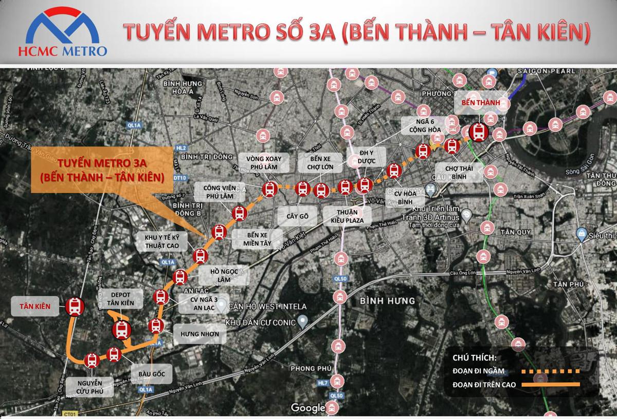 Sơ đồ tuyến Metro 3A Bến Thành - Tân Kiên.