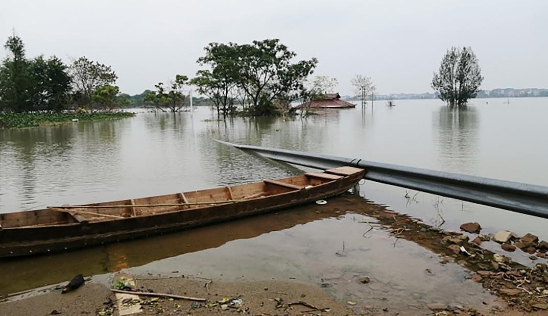 Ngập lụt tại làng của Bao. Ảnh: Bao Wentao