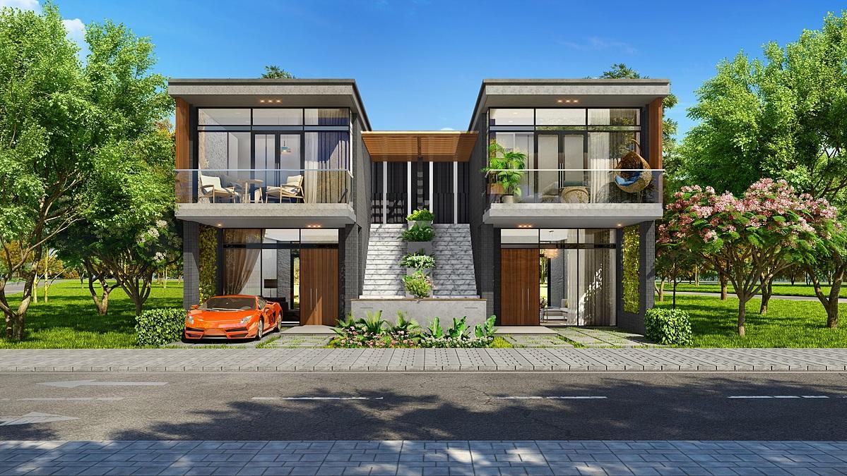Thiết kế hai tầng với lối đi riêng biệt đáp ứng xu hướng sống hiện đại và tạo giải pháp kinh doanh hiệu quả.