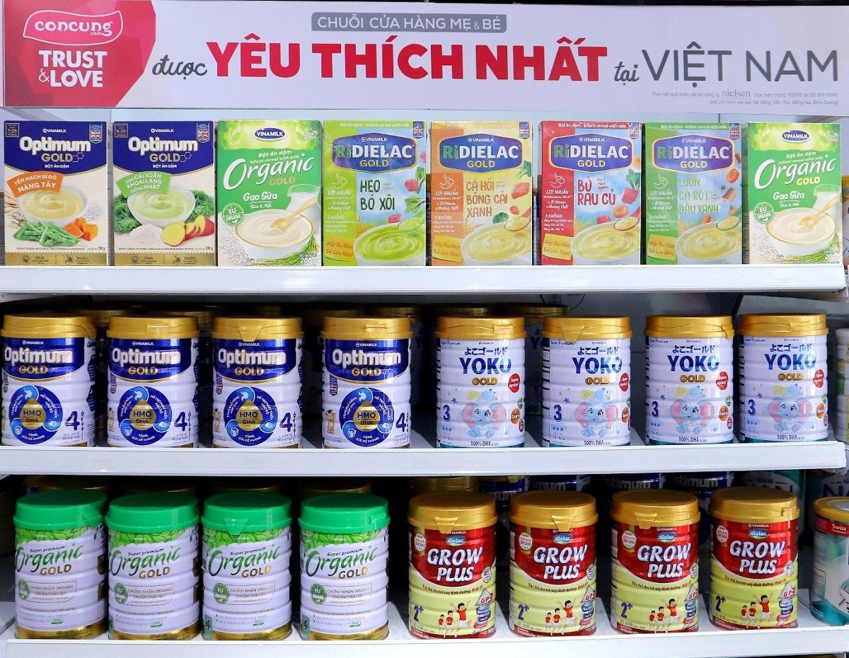 Các dòng sản phẩm cao cấp của Vinamilk hiện phân phối tại Con Cưng.
