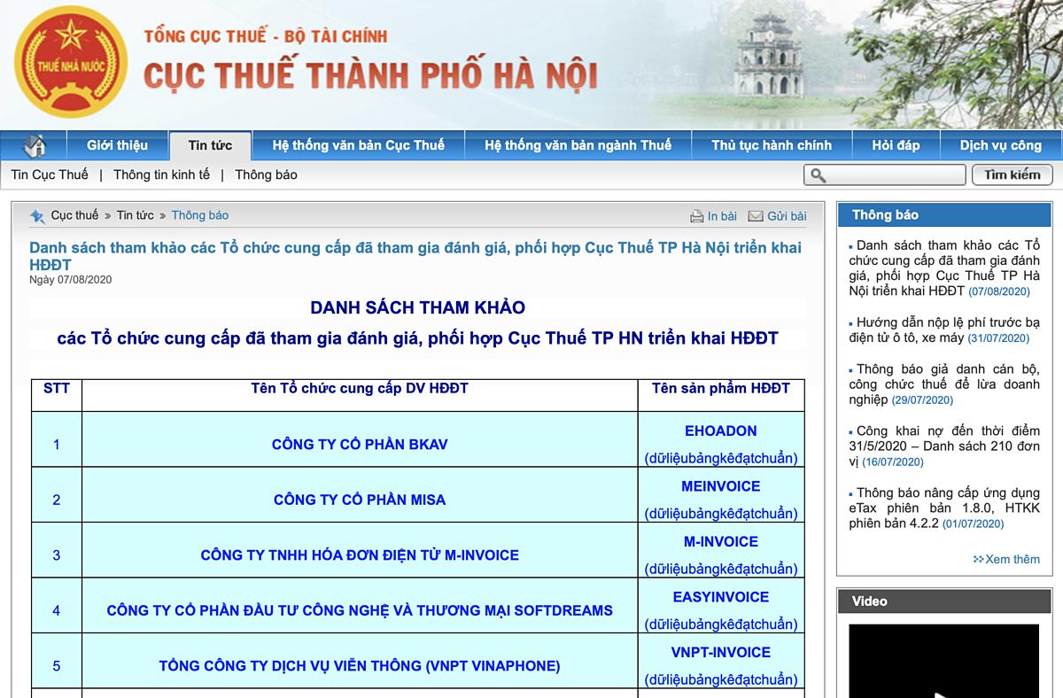 Danh sách các tổ chức cung cấp tham gia đánh giá, phối hợp Cục Thuế TP Hà Nội  (Nguồn: Chụp hình ảnh website Cục Thuế TP Hà Nội)