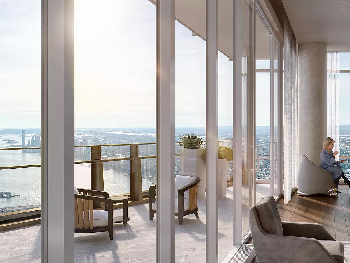 Căn penthouse tòa nhà 35 Hudson Yards đang được rao giá 59 triệu USD, sở hữu tầm nhìn toàn cảnh sông Hudson, Công viên Trung tâm (Central Park) và khu tài chính Manhattan. Ảnh: Curbed.