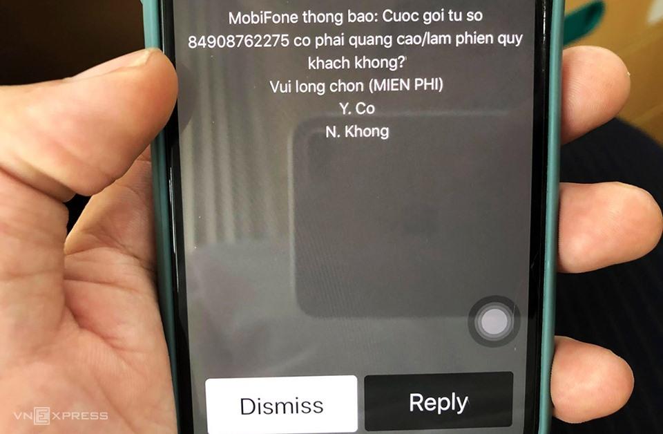 Một dạng tin nhắn từ nhà mạng cho phép người dùng từ chối cuộc gọi rác. Ảnh: Anh Tú.