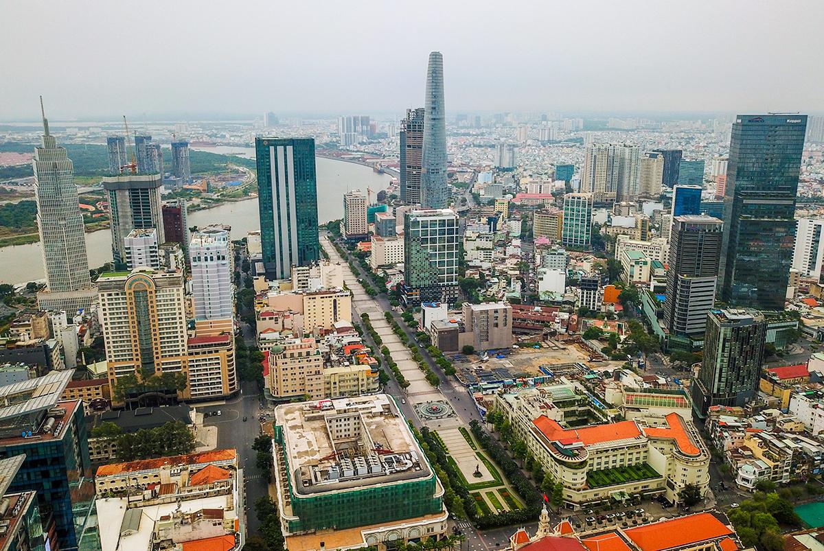 Thị trường bất động sản khu trung tâm TP HCM từ trên cao. Ảnh: Quỳnh Trần