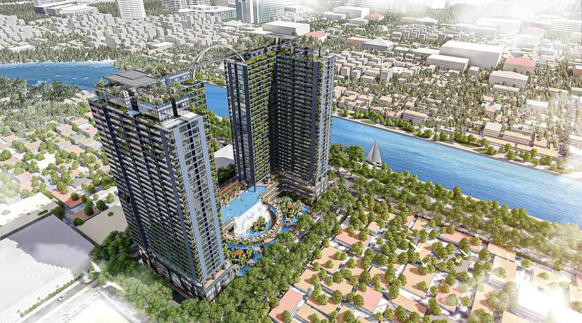 Sunshine Horizon - công trình tháp đôi biểu tượng mặt tiền Tôn Thất Thuyết, quận 4. Ảnh phối cảnh: Sunshine Group.