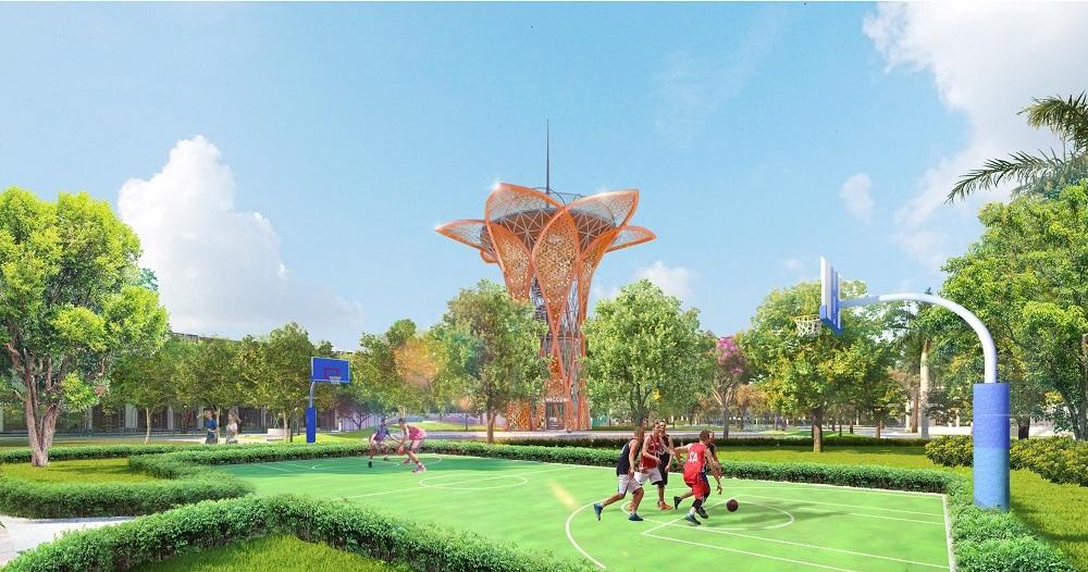 Đài quan sát có thiết kế cách điệu từ hoa hướng dương là điểm nhấn của Gem Sky Park. Ảnh: Tập đoàn Đất Xanh.