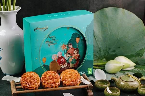 Hộp bánh trung thu Thanh Nguyệt Đoàn Viên với bánh làm từ đường ăn kiêng, vị ngọt nhẹ.