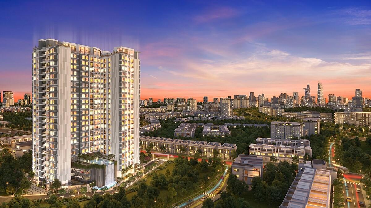 Phối cảnh dự án căn hộ Precia mặt tiền đường Nguyễn Thị Định, khu đô thị Thủ Thiêm, quận 2.