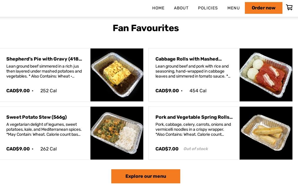 Website bán đồ ăn trên máy bay của Air North. Ảnh chụp màn hình.