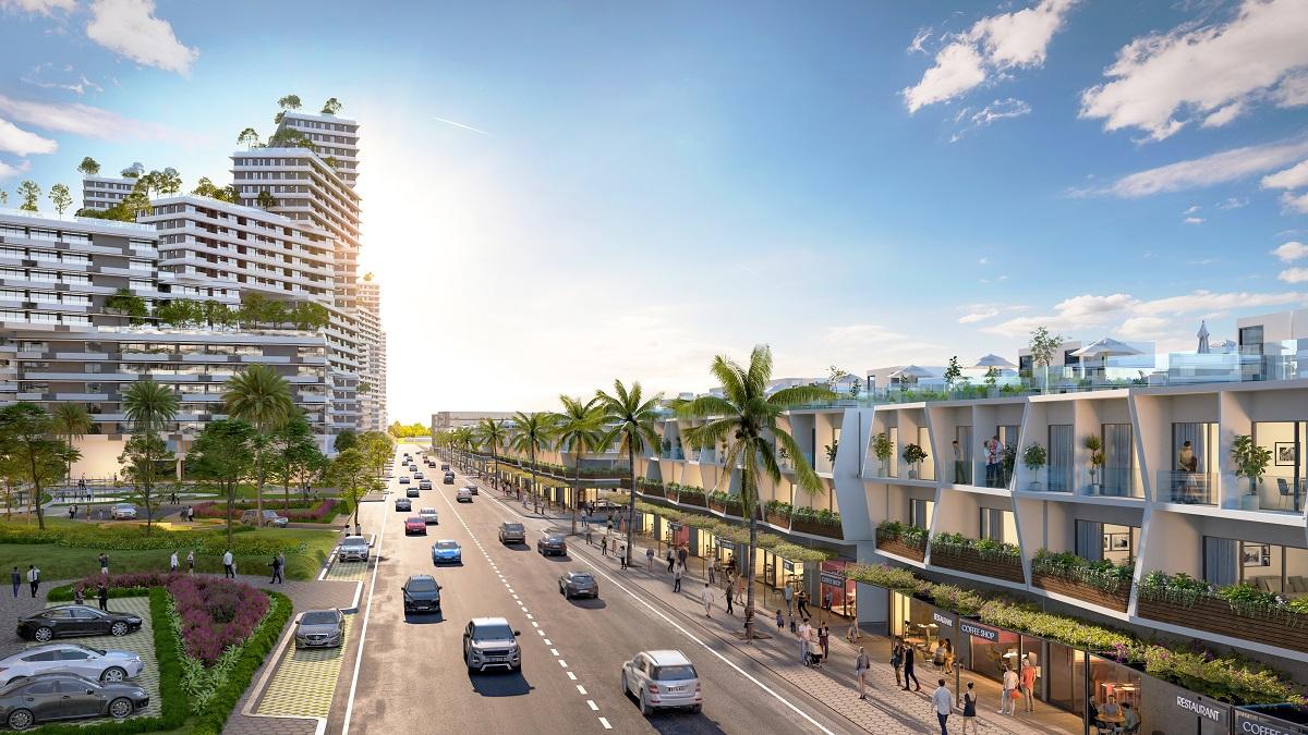 Phối cảnh nhà phố thương mại biển tại dự án Tổ hợp Đô thị Nghỉ dưỡng và Thể thao biển Thanh Long Bay. Ảnh: Nam Group.