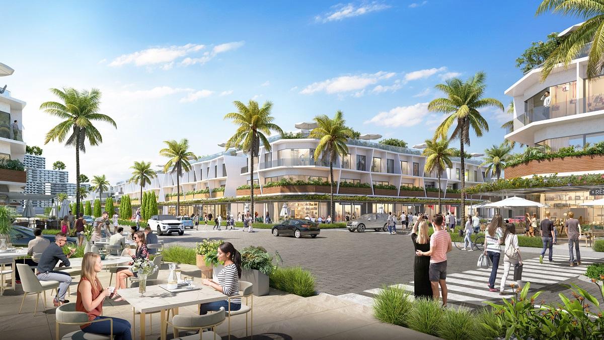 Phối cảnh nhà phố thương mại biển The Sound by Thanh Long Bay có nhiều lợi thế thu hút nhà đầu tư nhờ kiến trúc hai mặt tiền và pháp lý sở hữu lâu dài. Ảnh: Nam Group.
