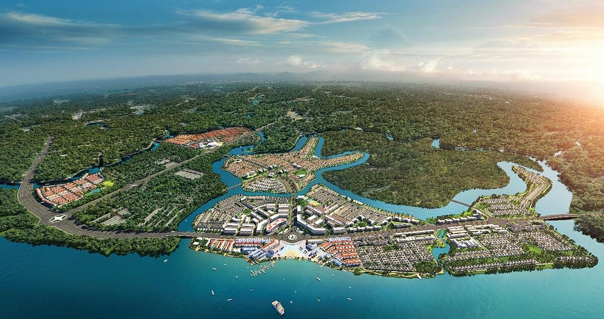 Khu đô thị sinh thái thông minh Aqua City quy mô gần 1.000ha tại phía Đông TP HCM. Ảnh phối cảnh: Novaland.