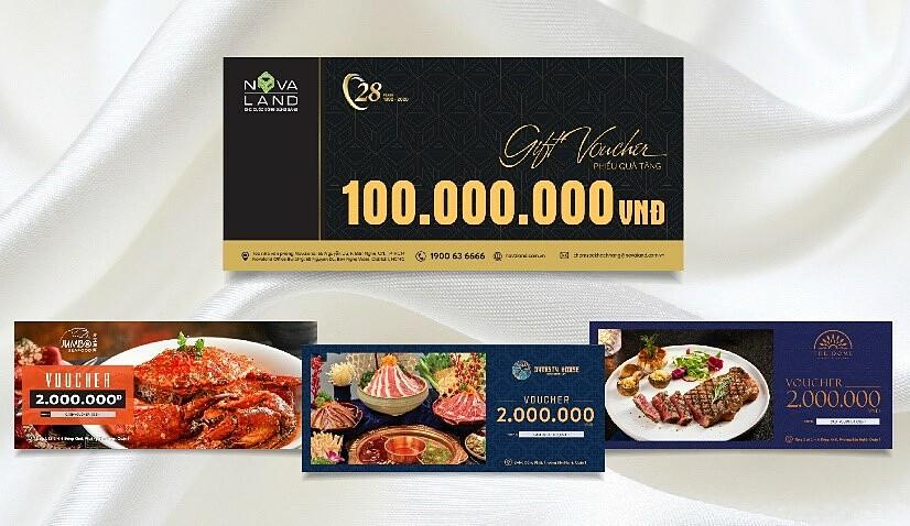 Bốn loại phiếu quà tặng Novaland dành tặng khách hàng nhân dịp kỷ niệm năm thành lập.