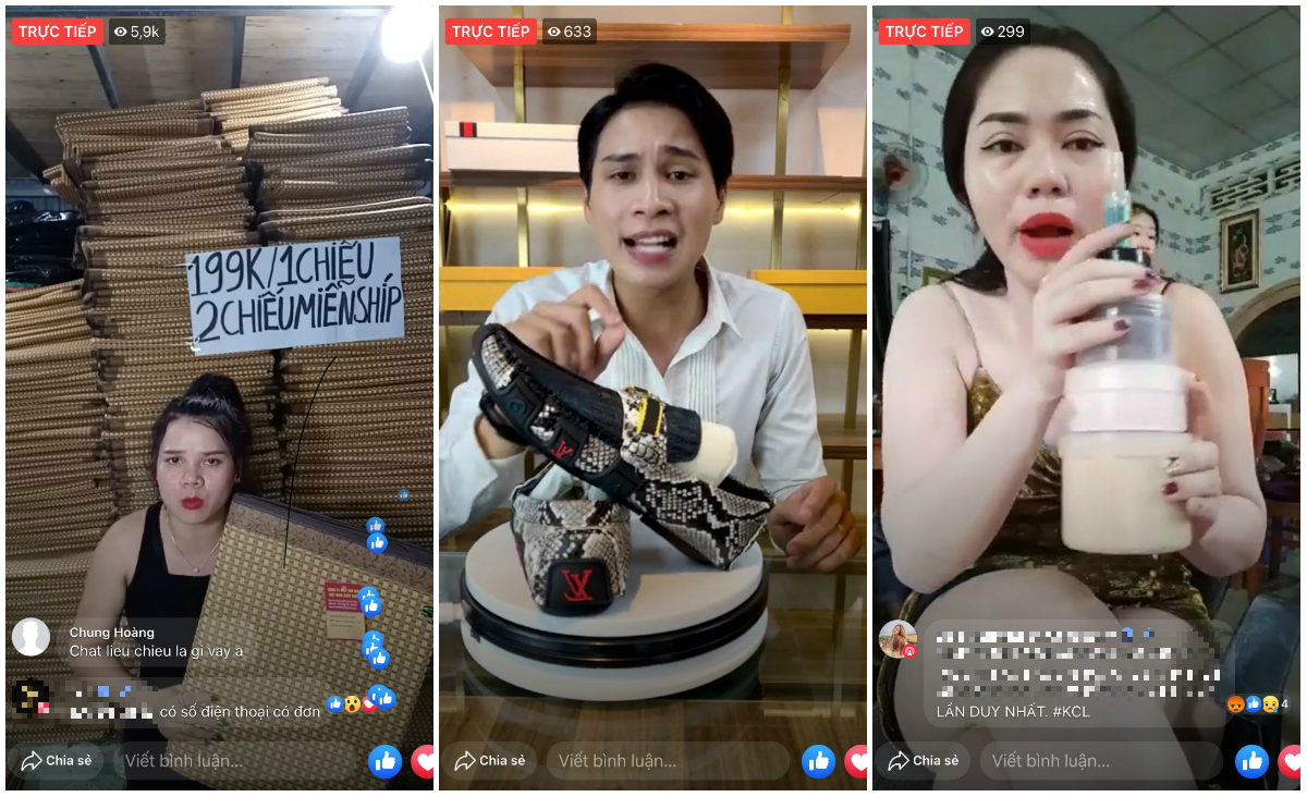 Từ trái sang, người bán hàng livestream bán chiếu, giày và kem trộn trên Facebook. Ảnh chụp màn hình.