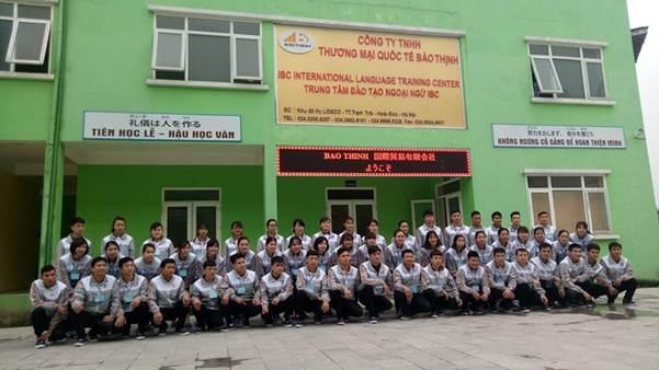 Các ứng viên tham gia đào tạo tại công ty Bảo Thịnh trước khi xuất khẩu lao động.