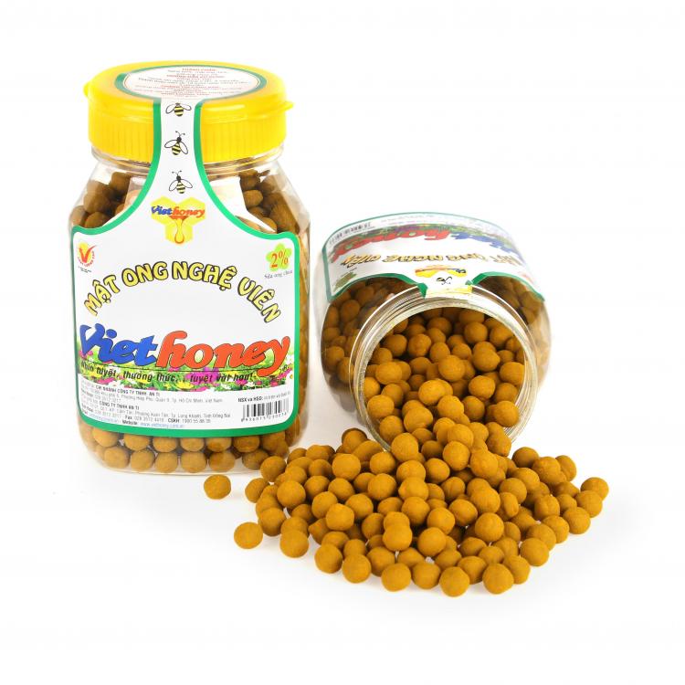 Sản phẩm viên nghệ mật ong Viethoney đang được cung ứng trên thị trường. Ảnh: Viethoney.