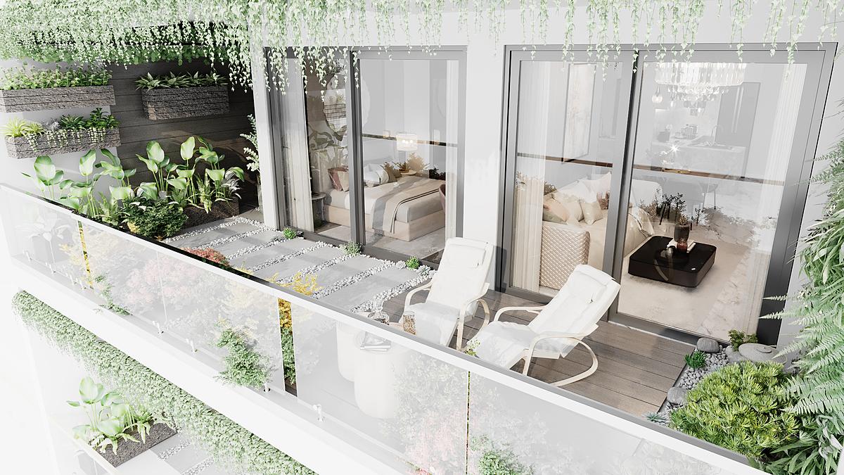 Chủ đầu tư tặng thiết kế vườn xanh tại logia mỗi căn hộ, tạo không gian xanh mát, gần gũi thiên nhiên.
