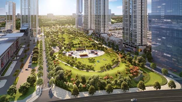 Công viên trung tâm rộng 6,6ha là lá phổi xanh của toàn dự án.