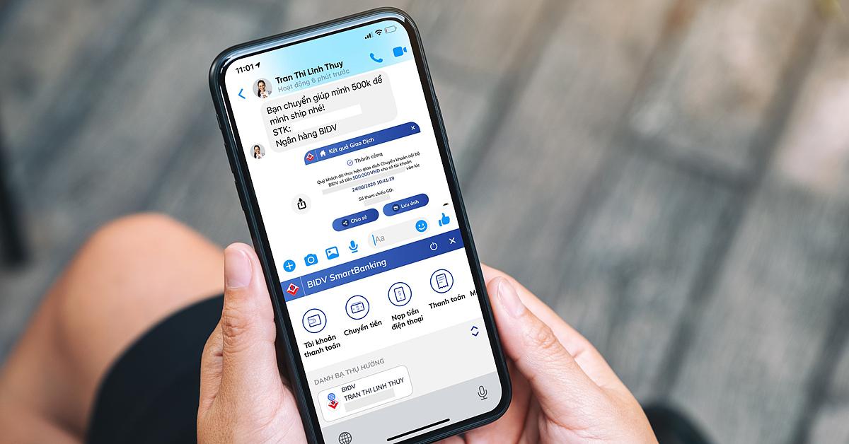 Người dùng có thể thực hiện các giao dịch tài chính cơ bản qua BIDV SmartBanking khi đang trò chuyện trên ứng dụng chat. Ảnh: BIDV.
