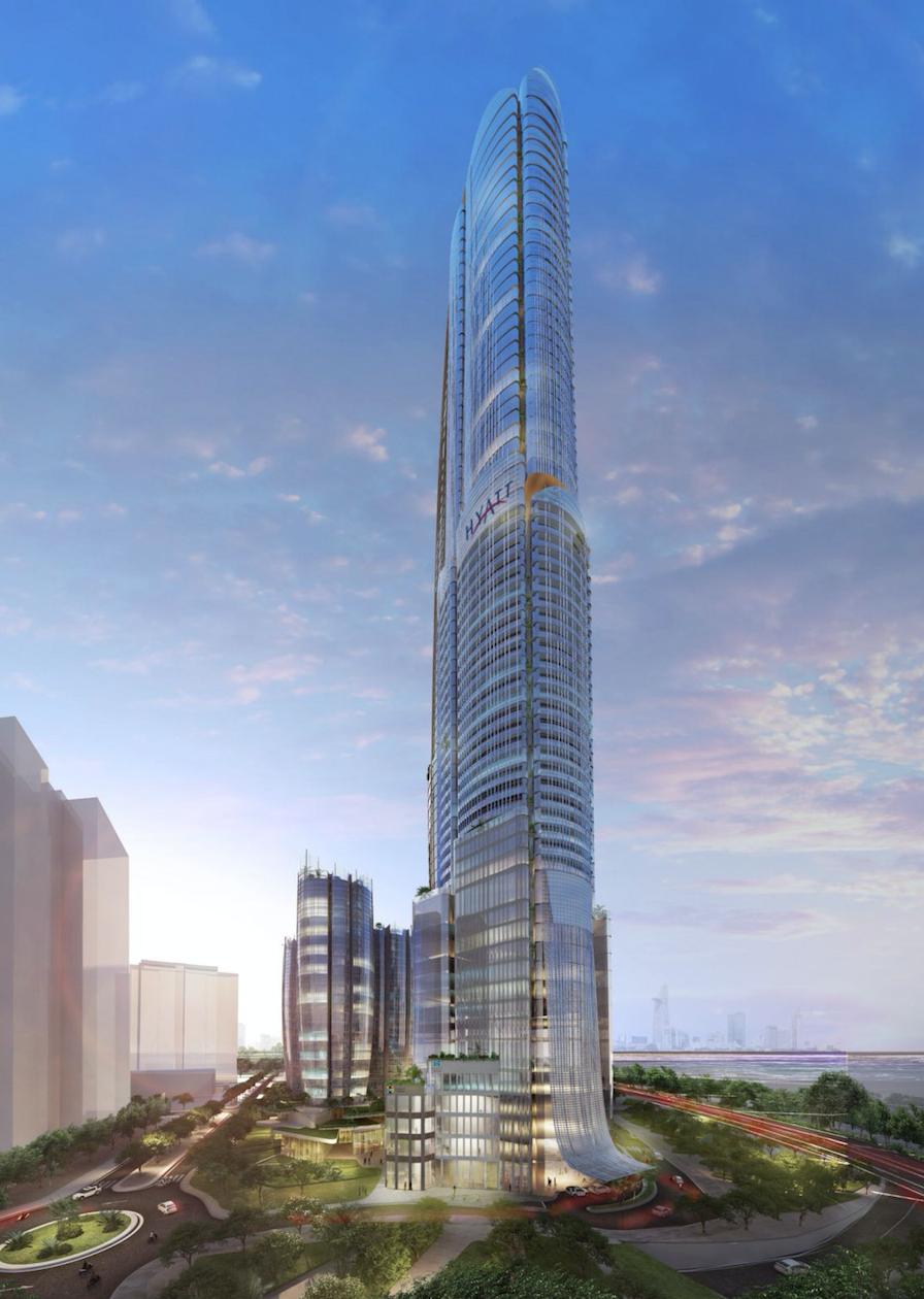 Tháp Eco Green 69 tầng được vinh danh với giải Công trình xây dựng và thiết kế khách sạn mới tốt nhất. Ảnh phối cảnh: Xuân Mai Sài Gòn.
