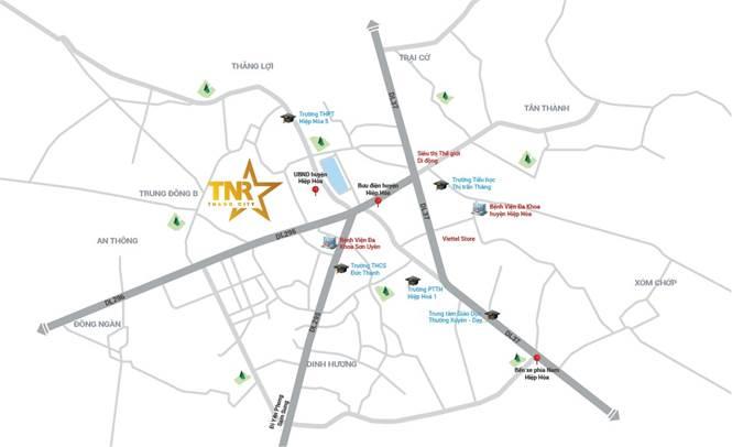 TNR Stars Thắng City tọa lạc tại trung tâm hành chính - văn hóa - xã hội của huyện Hiệp Hòa.