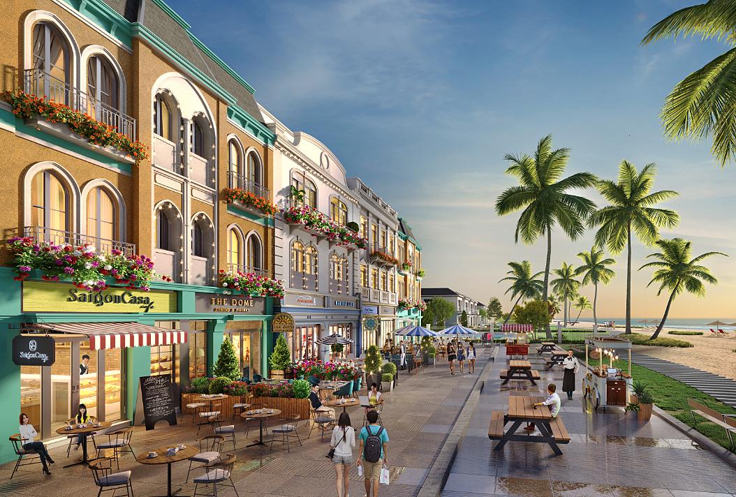 Shophouse hai mặt tiền và mặt tiền biển gia tăng cơ hội sinh lời cho nhà đầu tư. Ảnh phối cảnh: Novaland.