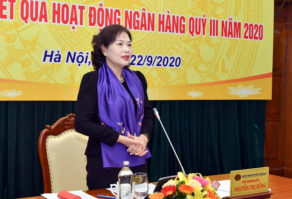 Phó thống đốc Nguyễn Thị Hồng tại cuộc họp sáng nay 22/9. Ảnh: Ngân hàng Nhà nước.