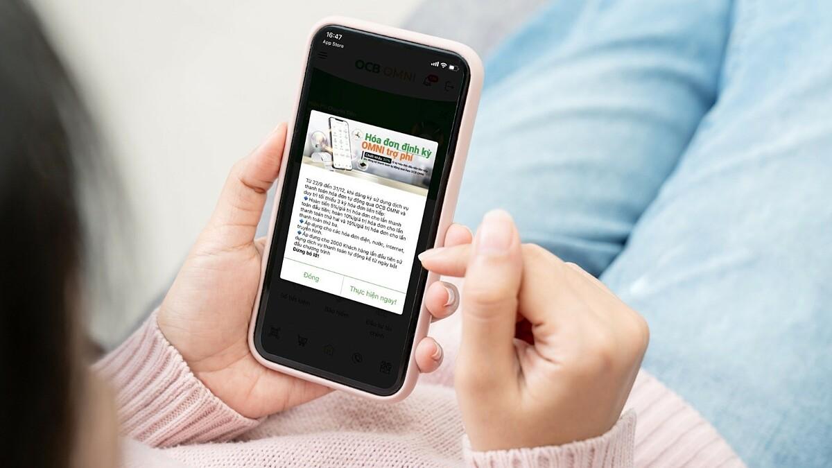 Người dùng OCB Omni có thể thanh toán tự động nhiều loại hóa đơn ngay trên ứng dụng. Ảnh: OCB.